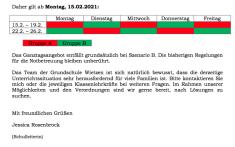 Szenario B / Wechselmodell ab 15.2.2021©Grundschule Wietzen