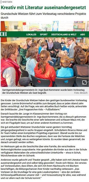 Vorlesetag Samtgemeindebürgermeisterin Frau Dr. Inge Bast-Kemmerer©Die Harke